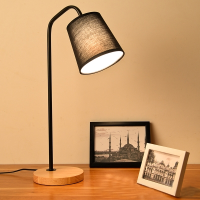 Industrial Desk Lamp with Wooden Base, Matte Black/White