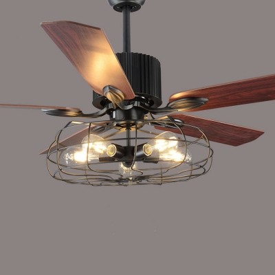 Industrial Fan Semi Flush Ceiling Light In Wrought Iron