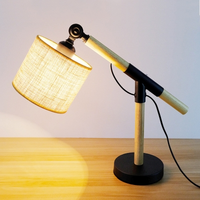 Industrial Desk Lamp with Fabric Shade in Natural Wood Finish