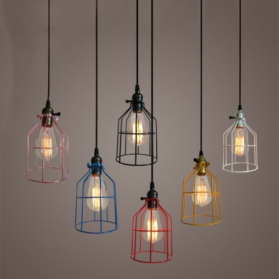 """Industrial Mini Hanging Pendant Light 9"""" High with Metal Frame, Color Option, HL449187, Black;blue;pink;red;white;yellow"""
