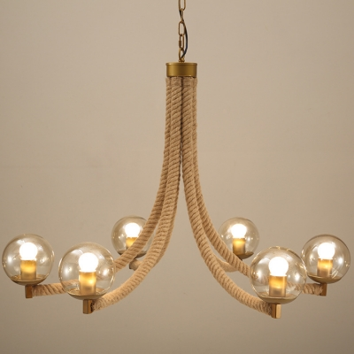 Industrial Vintage Chandelier 6 Light with Glass Shade, Rope Fixture Arm