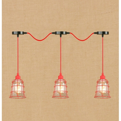 Industrial Cascade Pendant Light Vintage 3 Light with Red Metal Cage Frame and Clear Glass Shade