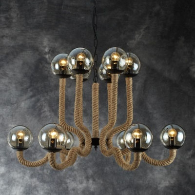 """Industrial Chandelier 12 Light 24"""" High 36"""" Wide Rope Fixture, Countryside Style, HL448685"""