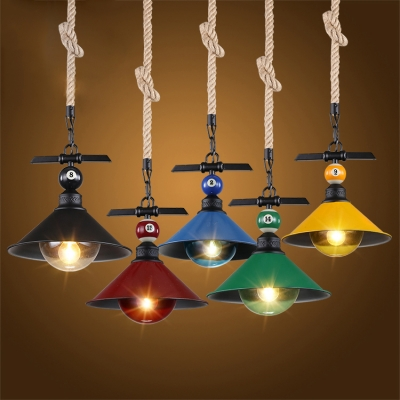 Industrial Hanging Pendant Light Color Option with Metal Shade, Rope ...