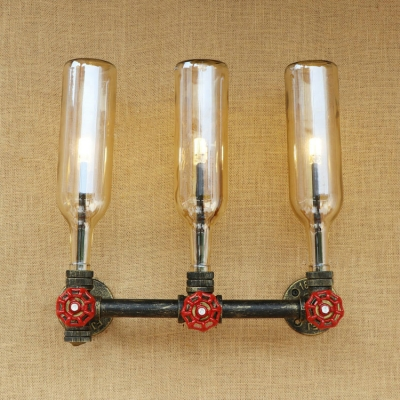 Industrial Vintage Wall Sconce 3 Light G4 Valve Decorative Pipe Fixture with Colorful Bottle Glass Shade