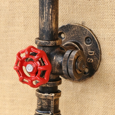 Industrial Wall Light with Colorful Wine Bottle Glass Shade with Valve Decorative Pipe Fixture Arm