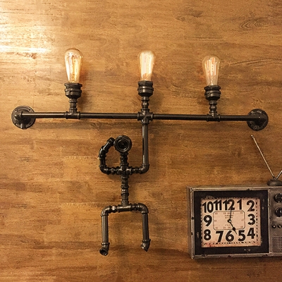Industrial Pipe Wall Sconce With 3 Light And Robert Shape