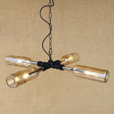 Industrial Retro Multi Light Pendant Light LED Colorful Glass Bottle Lampshade in Blue, Amber, Smoke