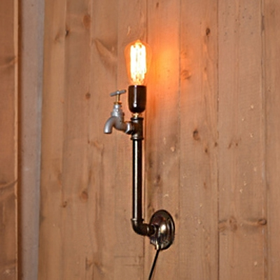 Industrial wall sconce loft torch pipe fixture arm with tap industrial wall sconce loft torch pipe fixture arm with tap decoration in open bulb style aloadofball Images