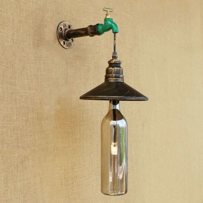 Industrial Wall Sconce with Creative Colorful Glass Shade, LOFT Metal Shade and Tap Decorative