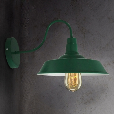 Green Single Light Down Light Barn Style Shade Gooseneck Arm Wall ...