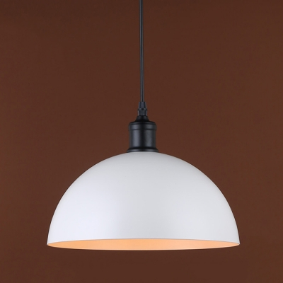 Hanging Pendant Light In White With Bowl Shade For Indoor