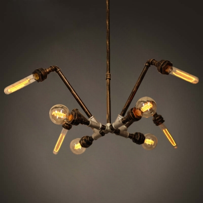 industrial pipe lighting. Industrial Pipe Chandelier With 8 Light In Black/Aged Brass/Aged Silver Lighting