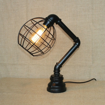 industrial table lamp with pipe lamp base with vintage metal cage frame in black