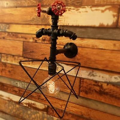Industrial Wall Light Pipe Fixture with Valve Decoration, Star Metal Caged Frame in Bronze HL448953 фото
