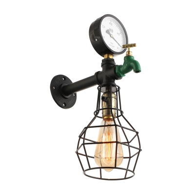 ... Industrial Wall Sconce E27 LED Lighting LOFT Tap Pipe Style With Metal  Cage Frame