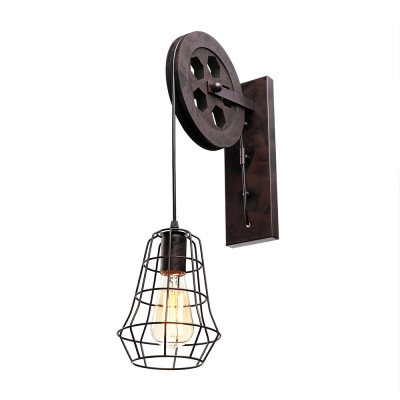 Industrial Wall Sconce With Hanging Cord And Metal Cage