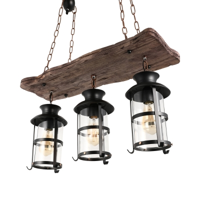 Nautical Wrought Iron Multi Light Pendant Industrial Wood