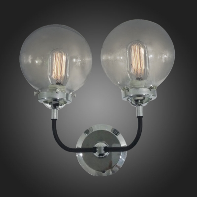 Incredible Polished Nickle 2 Light Globe Clear Glass Bathroom Vanity Led Wall Home Interior And Landscaping Fragforummapetitesourisinfo