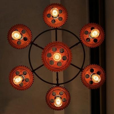 Vintage 7 Light Multi Light Pendant with Gear in Rust
