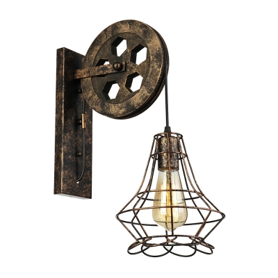 Vintage Wall Sconce with Wheel Shape Arm and Metal Cage, Black