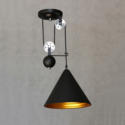 Industrial Extendable Pendant Light with Black Cone Shade ...