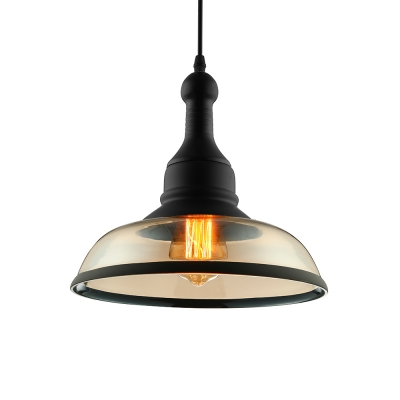 Hanging Pendant Light Billiard Ball With Clear Gl Shade In Black