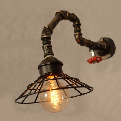 Vintage Wall Light Retro Arc Pipe Fixture With Metal Frame