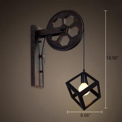 Vintage Wall Sconce with Cube Cage, Black