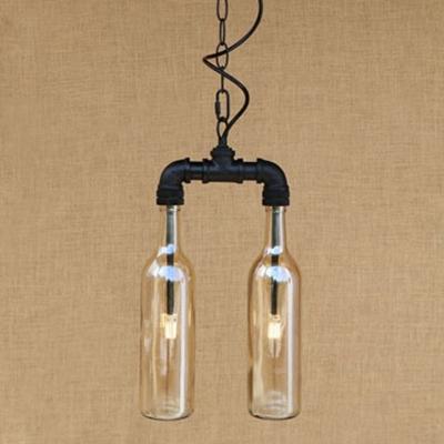 Industrial LOFT Multi Light Pendant Light 2 Light G4 Bulb Lighting with Blue/Amber/Smoke Bottle Glass Shade