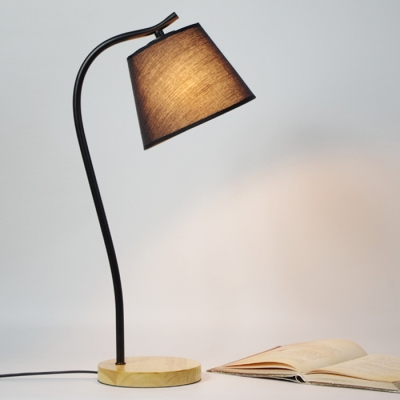 Industrial Metal Desk Lamp With Wood Base, Black/White
