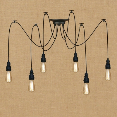 Industrial Multi Light Pendant with Adjustable Cord Spider Pendant Light in Black Finish