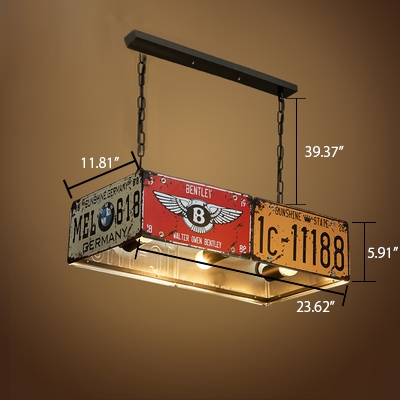 Industrial Multi-Light Pendant Light with Rust Rectangle Shade, 3 Lights