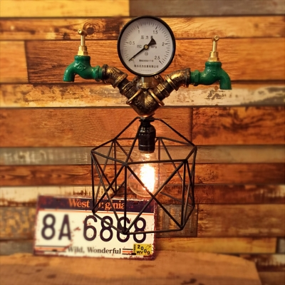 Industrial Wall Light with Metal Cage Frame in Retro Style, Tap and Water Meter Decoration