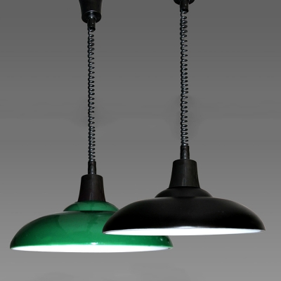 Industrial Extendable Pendant Light with Coolie Shade in Black/Green