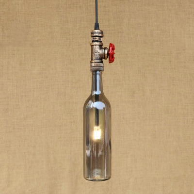 Industrial Hanging Pendant Light G4 Lighting with Blue/Amber/Smoke Glass Shade, On-Off Valve Decoration