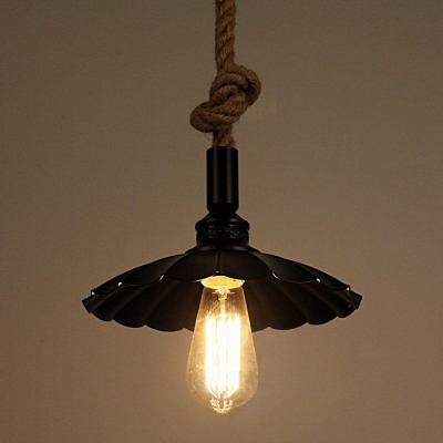 Industrial single pendant light with scalloped shade rope hanging industrial single pendant light with scalloped shade rope hanging fixture arm for barn aloadofball Choice Image