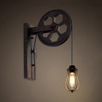 Vintage Wall Lamp With Wheel Shape Arm