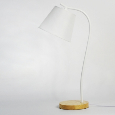 Industrial Metal Desk Lamp with Wood Base, Black/White