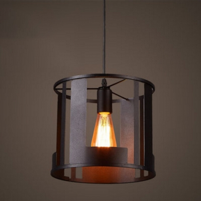 Industrial Mini Pendant Light in Rustic Style with Cylinder Shade