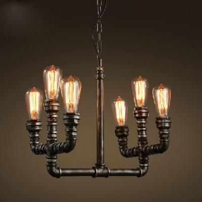 Multi Light Pendant Retro Vintage E27 Led In Open Bulb Style Black