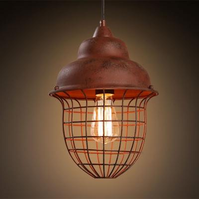 Industrial Vintage Hanging Pendant Light for Indoor/Outdoor Lighting with Wire Net Metal Cage