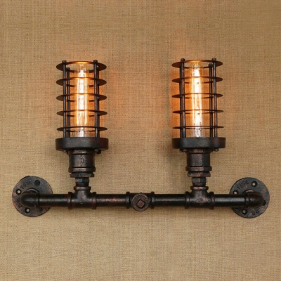industrial wall sconce e27 lighting with retro metal frame in aged bronze with pipe fixture design