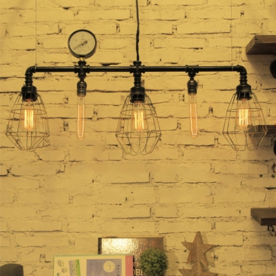 Industrial Island Light LOFT Pipe Fixture Arm with Watermeter Decoration, Metal Cage Frame in Color Option