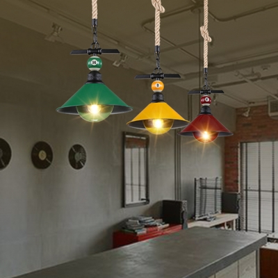 Industrial Hanging Pendant Light Color Option with Metal Shade, Rope Hanging Fixture Cord