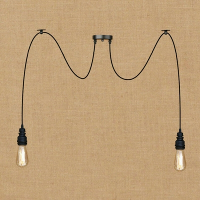 industrial multi light pendant light in black finish with pipe fixture