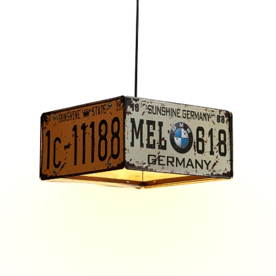 Industrial Multi-Light Pendant Light with Rust Square Shade, 3 Lights