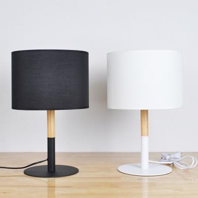 Vintage Desk Lamp with Cylinder Shade in Black/White