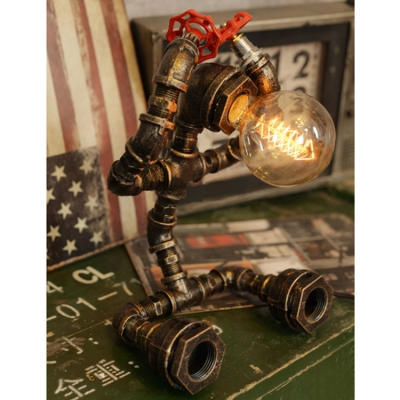 Industrial Pipe Table Lamp with Robert Shape Base in Bronze