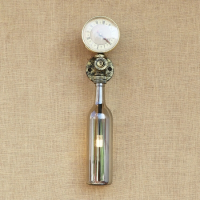 Industrial Wall Sconce with Colorful Wine Bottle Glass Shade in Vintage Pipe Style Watermeter Decoration